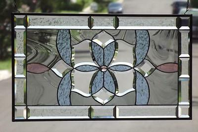 """••Royal Court ••Beveled Stained Glass Window Panel • 28 1/2""""x15 1/2"""" (72x39cm)"""