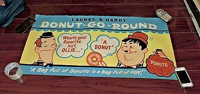 Laurel And Hardy Large Original Donut Store Display Poster 1950S
