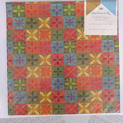 Vintage Hallmark Wrapping Paper Christmas Mosaic Gold Scrapbooking New Old Stock