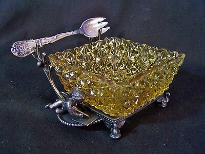 Antique GORHAM Silverplate wCut Glass Pickle Castor CHERUB Waldorf Astoria Hotel