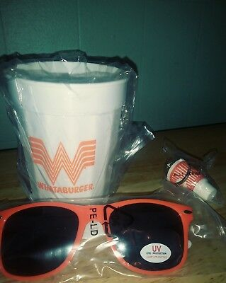 Whataburger Fast Food Sunglasses Cup Keychain LOT OF 3 New