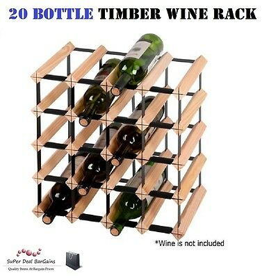 20 Bottle Timber Wine Rack Organizer Cellar Wooden Steel Storage Stand Display