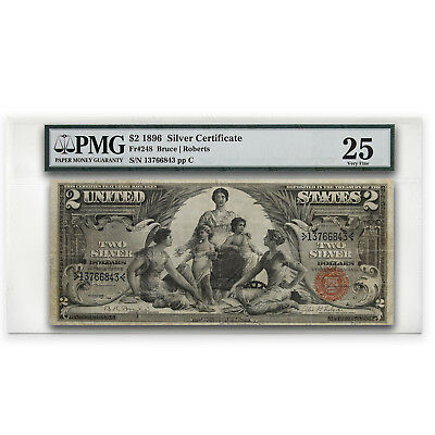 1896 $2.00 Silver Certificate Educational Note VF-25 PMG