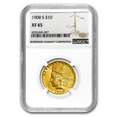 1908-S $10 Indian Gold Eagle XF-45 NGC