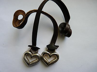 Brighton Set Of Two Silver Tone  Heart Brown Leather Strap Charms