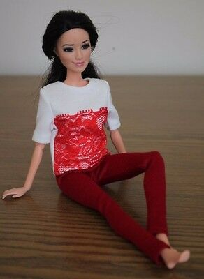 Clothes for Barbie Doll. T-shirt with lace and Red Leggings for Dolls.