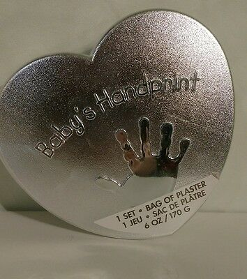 Sealed Baby Plaster Handprint Kit Heart Shaped metal box.