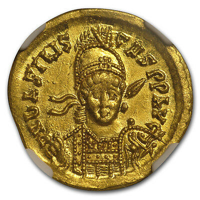 Eastern Roman Gold Solidus of Emp Basiliscus (475-476 AD) MS NGC