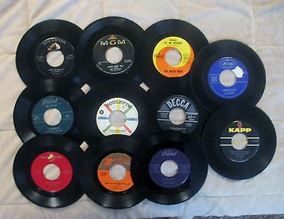 Lot of 11 Vintage 45 rpm Records Rock & Roll, Swing, and lLittle Country -Estate