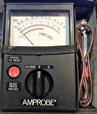 Amprobe AMB-1 Analog Megohmmeter Insulation Tester, With Probes and Carry Case