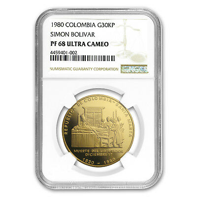 1980 Colombia Proof Gold 30000 Pesos Death of Bolivar PF-68 NGC