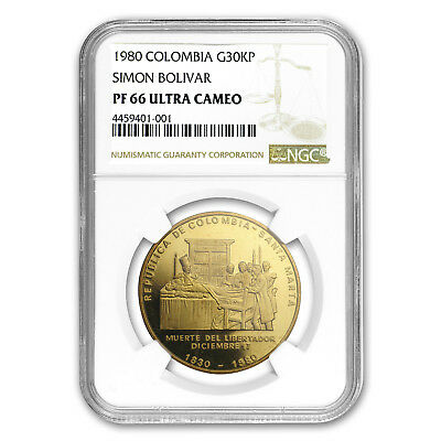 1980 Colombia Proof Gold 30000 Pesos Death of Bolivar PF-66 NGC