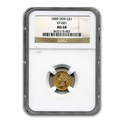 1889 $1 Indian Head Gold MS-68 NGC (DDR, VP-001)