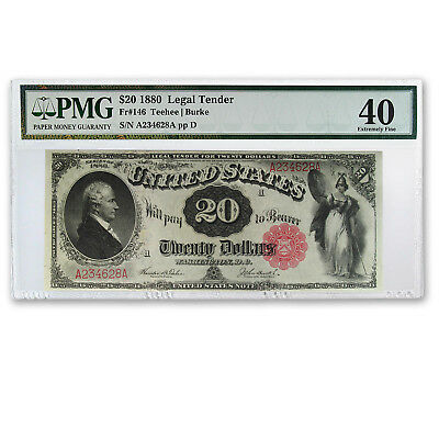 1880 $20 Legal Tender Alexander Hamilton XF-40 PMG