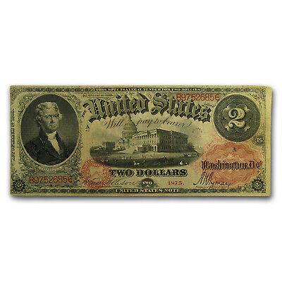 1875 $2.00 Legal Tender Fine (Bracelet Back)