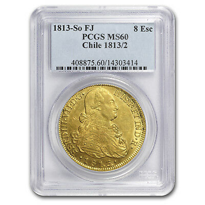 1813-SO FJ Chile Gold 8 Escudos Ferdinand VII MS-60 PCGS (1813/2)