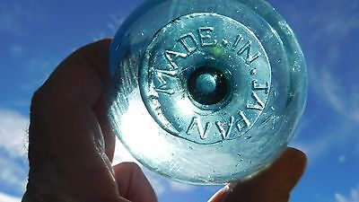 Genuine Japanese Vintage Glass Float Marked  MADE IN JAPAN  On Seal Button