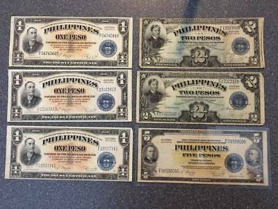 Philippines Victory No 66 Currency Note Lot 1,2,5 Pesos Estate Collection -Lot E