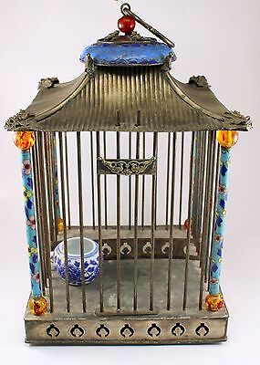 Ornate Silverplate BIRD CAGE with Enamel Cloisonnen FIGURAL ~ Asian Theme 1930's