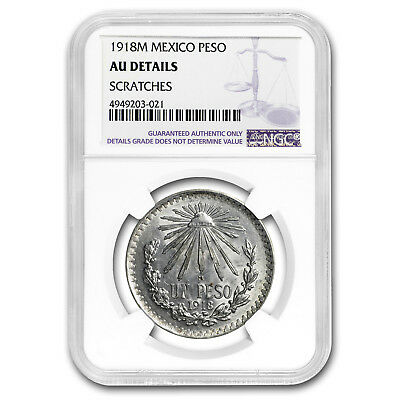 1918 M Mexico Silver Peso AU Details NGC (Scratched)