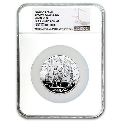 1997 Russia Silver 25 Rouble Ballet Swan Lake PF-69 NGC