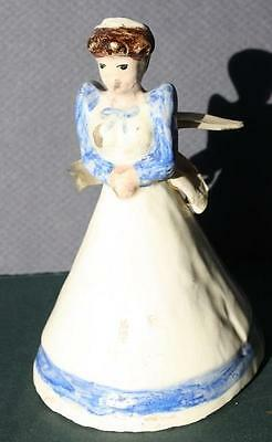 Vintage Handmade Pottery Bell Lady in Dress-Ringer is Molded Legs & Feet-UNUSUAL