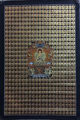 Large Handpainted Tibetan Chinese 500 Buddha Enlightenment Thangka Painting