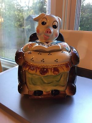 Pig in Wheelchair small COOKIE JAR abcs RARE vintage Some Paint Missing-sleeves