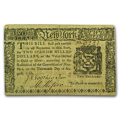 1776 $2 New York Currency 8/13/1776 Extra Fine (Pair of Storks)