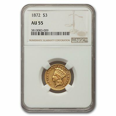 1872 $3 Gold Princess AU-55 NGC