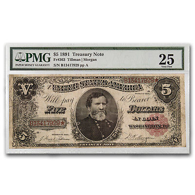 1891 $5.00 Treasury Note General George Thomas VF-25 PMG