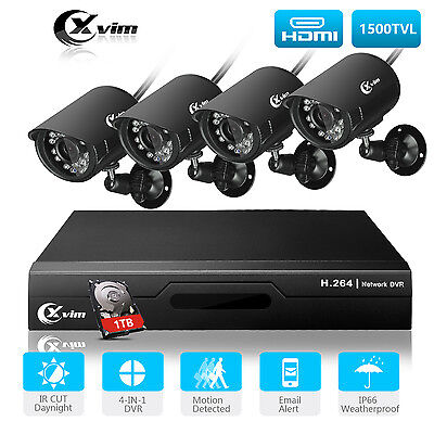 XVIM 8CH 1080N DVR Night Vision Camera Home Security CCTV System Outdoor 1TB HDD