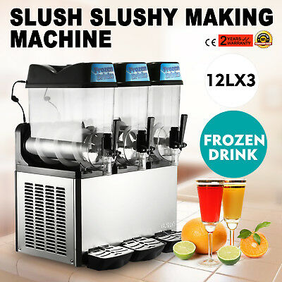 3 Tanks 36L Commercial Frozen Drink Slush Slushy Machine Granita Mingle Spigot