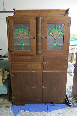 Antique Leadlight Kitchen Cabinet