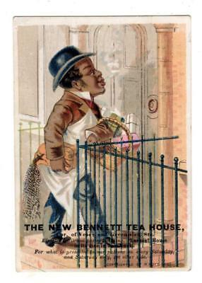 1882 NEW BENNETT TEA HOUSE NEW YORK CITY Trade Card BLACK MAN DELIVERS PACKAGES