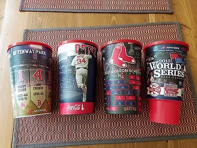 Lot of four Boston Red Sox plastic collector cups MLB souvenir david ortiz cup
