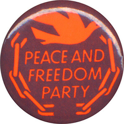 1968 Peace & Freedom Party Dove-and-Chains Logo Button ~ Eldridge Cleaver (3953)