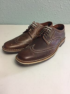 NEW Steve Madden Lookus Brown Leather Wingtip Oxfords Mens Size 9.5