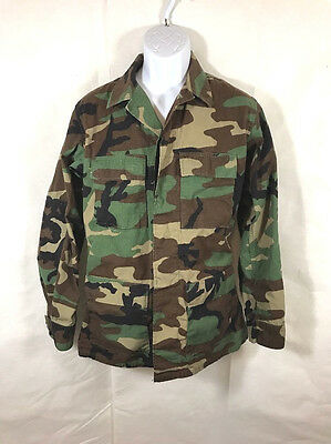 US MIlitary Mens Woodland Camo Camouflage Combat Field Jacket Size S Long