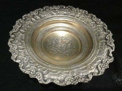 Vintage Unsigned Silver Plate Persian Style Face Footed Bowl ~ Carved Details
