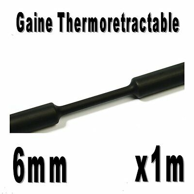 Gaine Thermo Rétractable 2:1 - Diam. 6 mm - Noir - 1m