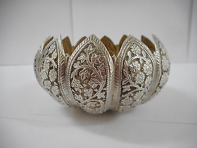Antique Persian Indian Asian Solid Silver Decorative Bowl