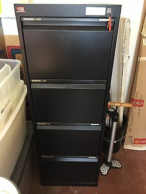 Statewide 4 Drawer Black Filing Cabinet Used With Folders
