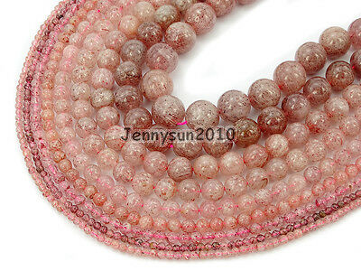 Natural Strawberry Quartz Gemstone Round Beads 15'' 6mm 8mm 10mm 12mm 14mm 16mm