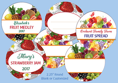 """12 Round 2.5"""" LABELS blank or CUSTOM Canning Jam Jelly Personalized stickers"""