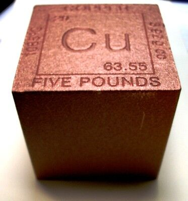 """""""Perfect Desk Paper Weight! 1-5 lb 999 FN COPPER BULLION CUBE+EXTRAS!"""