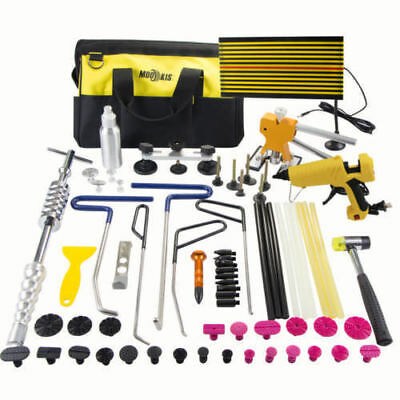PDR Tool Paintless Dent Lifter Removal Hail Puller Rod+Repair LED Line Board Kit