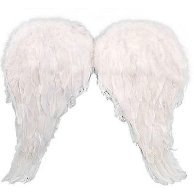 "Genuine "" FEATHER WINGS "" Pure White Angel Halloween Costume Accessory by JHats"