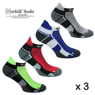 "3 x Norfolk Mens Running Socks, Ankle Length, Cushioned, Trainer - ""Owens"""