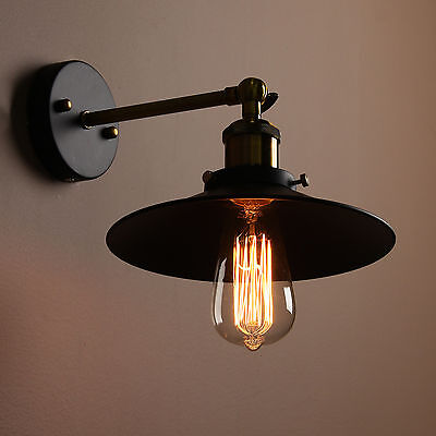 -55% ! Vintage Brass Antique Wall Sconce Black Metal Shade Wall Light Wall Lamp